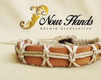 Macrame and leather bracelet