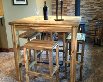 """Handmade Rustic Industrial Pub Table, Pub table and stools, 42"""" Pub table with set of four 30"""" stools, pine, solid pine, solid wood"""