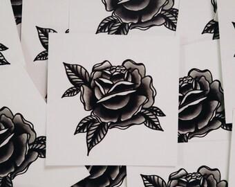 """Black Rose 3""""x3"""" Mini Print"""