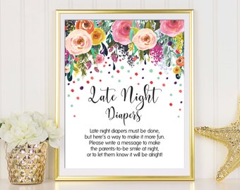 Late Night Diapers, Diaper Thoughts, Diaper Sign, Baby Shower Game, Confetti Baby Shower, Confetti Sign, Girl Baby Shower, Baby Shower Sign