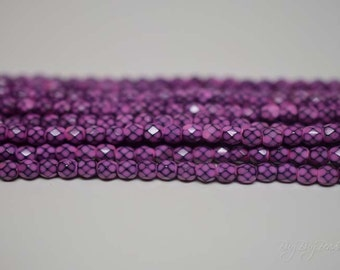 4MM, Orchid, Round Faceted, Snake Fire Polished Czech Glass Beads - 50 Beads