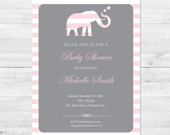 Baby Shower Invitation Girl, Elephant Baby Shower Invitation, Pink And Grey  Baby Shower Invitation