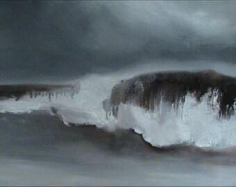 Seascape oil painting (27x45cm)