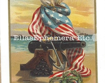 1913 Embossed Patriotic Postcard DECORATION DAY SOUVENIR  W/Flags, Cannon, Anchor, Wreaths, Eagle, Memorial Day