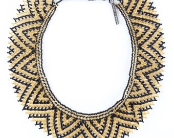 cleopatra statement beaded collar necklace | black & gold