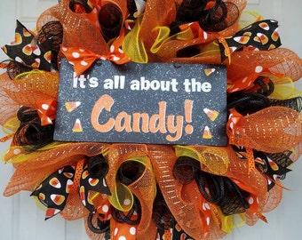 halloween wreath halloween door hanger orange wreath candy wreath candy corn wreath - Halloween Candy Wreath