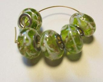 5 glass beads fits european bracelet LHJ4-6