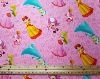 Super Mario Bros Princesses Fabric, By the Yard or FQ, Nintendo, Princess Peach, Princess Daisy, Rosalina, Toadette, Pink Yoshi, Girl Gamer
