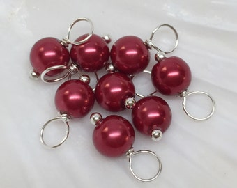 Pearl dangle charms, 6mm Bordeaux Red, glass pearl dangle beads, Christmas dangle charms, pearl dangle charms, glass pearl charms, red charm