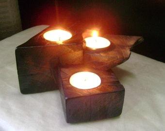 Primitive Tea Light Wood Candle Holder