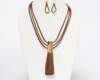 Leather Faux Tassle Necklace Set