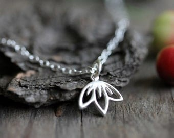 Petite Cherry Blossom Necklace, Sterling Silver Chain, Tiny Charm, Delicate Jewelry