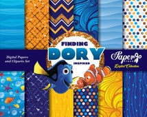 Finding Dory Digital Scrapbook Paper and Cliparts set, Undersea Digital Paper, Patterns, Chevron, Stripes, Glitter, Finding Dory Birthday