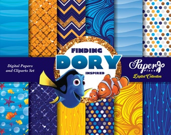 Finding Dory Digital Scrapbook Paper and Cliparts set, Undersea Digital Paper, Patterns, Chevron, Stripes, Glitter, Finding Dory