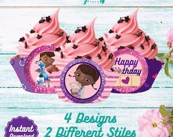 Doc McStuffins Cupcake Wrappers, Printable Cupcake Wrap, Disney Doc Mcstuffins Birthday decoration, instant download, DIY