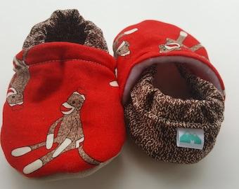 Sock Monkey, Moccasins, baby crib shoe, soft sole shoes