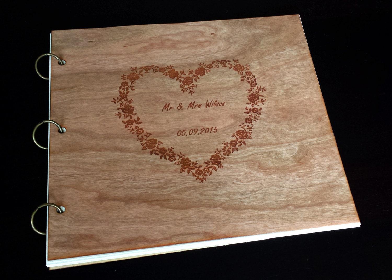 Wedding Guest Book Wood /Custom Photo Album Wood Engraved