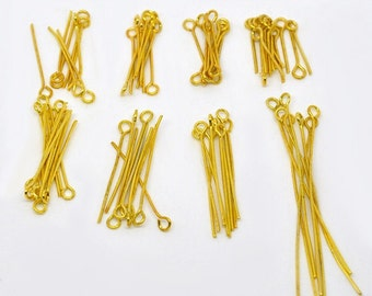 Gold Plate Eye Pins in Assorted Sizes (1085)