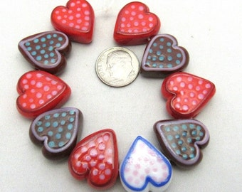 1 Strand Handmade Heart Lampwork Beads in Brown/Red/White/Pink/Blue (B35a4)