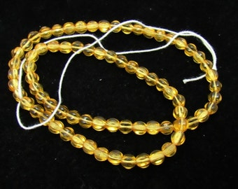 Czech Pressed Glass Fluted Round Beads 6.5mm Honey (B26a3)
