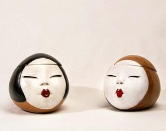 Geisha face ceramic jewelry boxes, pottery, ceramic jewelry box, jewelry box, casket, geisha, gift idea, ceramic box, japanese gift