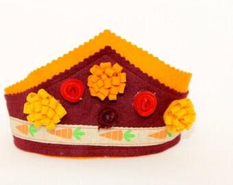 Wool Felt crown, natural Waldorf crown, handmade birthday crowns
