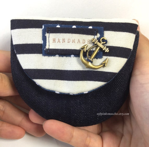 Nautical Theme Purse/ Handmade Fabric Coin Purse/ Small Coin Purse/ハンドメイドコインケース/ デニムコインケース/ コットンコインケース