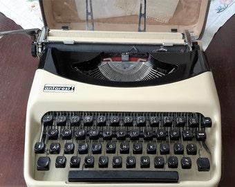 Vintage Portable Typewriter, Cream and Black 'Antares'  Manual Typewriter, Working Typewriter Made in Italy. 1960s.