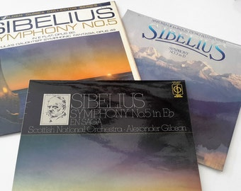 3 x Vintage Vinyl Records, Sibelius, Symphonies No. 5, No. 2. Various Artists including Halle Orchestra and London Symphony Orchestra.