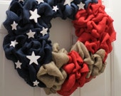 Patriotic wreath. Memorial day, Labor day wreath ,4th of July wreath, American Flag Wreath, Fourth of July Wreath, Red, White & Blue Wreath