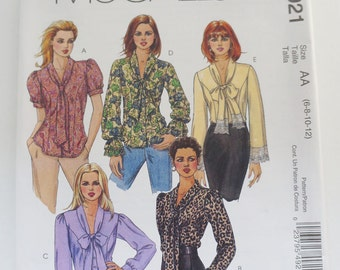 Uncut McCall's Paper Sewing Pattern M4921 Misses' Blouses Size AA 6-8-10-12
