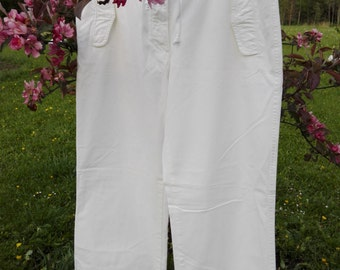White cotton women's Boomerang trousers