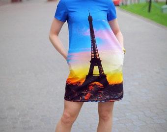 """Summer dress """"Paris"""" unique print"""