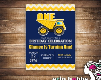 Dump Truck Birthday Invite