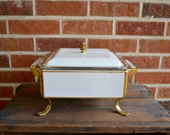 Vintage White and Gold Chafing Dish Fire King Chafing Dish Food Warmer