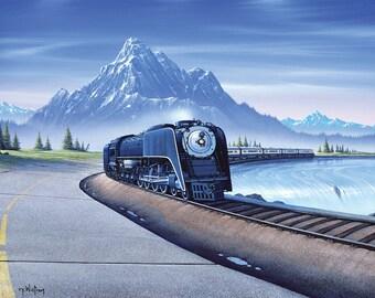 "Tim Wistrom Mini Print ""Train Around the Mountain"""