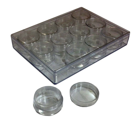 12 piece clear plastic round box set screw on lids. Black Bedroom Furniture Sets. Home Design Ideas