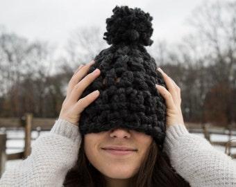 Chunky Crochet Hat with Pom Pom - Charcoal