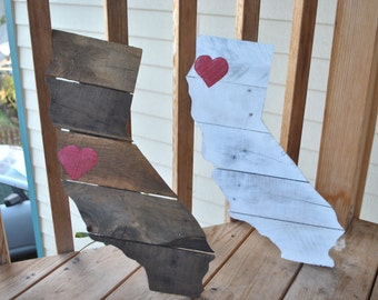 California Pallet Art Stained or Painted with Heart