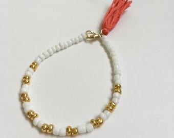 White & Gold Beaded Bracelet