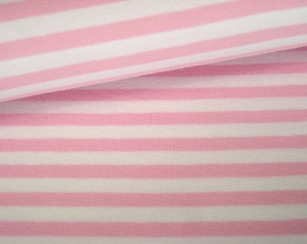 Jersey cotton stripes Pink-White 6 mm
