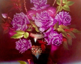 Flower picture with rhinestones