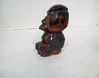 Marble Stone Tribal Figure Black & Brown Stone