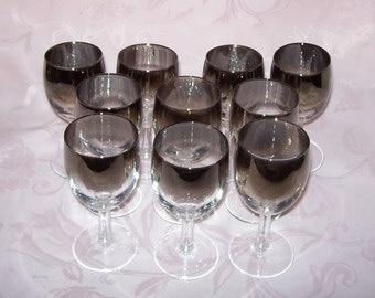 Vintage Mid Century Vitreon Queen's Lusterware Classic 5oz. Cordial Glass  ~ Set of Ten ~ Silver Ombre or Silver Fade Rim.