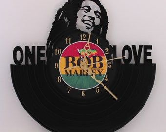 Handcarved Bob Marley vinyl record clock, retro wall clock, vinyl art clock, vinyl wall clock, record wall clock