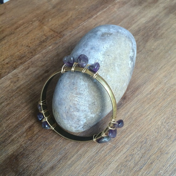 Amethyst wire wrapped brass bangle - B302A