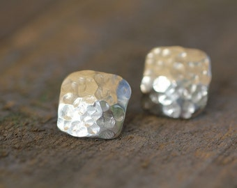 Organic Shaped Hammered Sterling Silver Post earrings.