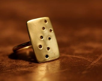 Organic Pierced Brass Ring. Very comfortable to wear Size M 3/4 Aus this can be made to your size.