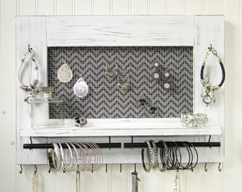 Rustic Jewelry Organizer Earring Bracelet Necklace Holder Distressed White