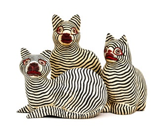 Set of Three Hand Carved, Hand Painted, Black Stripe Wood Cats